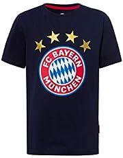 FC Bayern München Kinder T-shirt logo marine/fanshirt met groot FCB-embleem