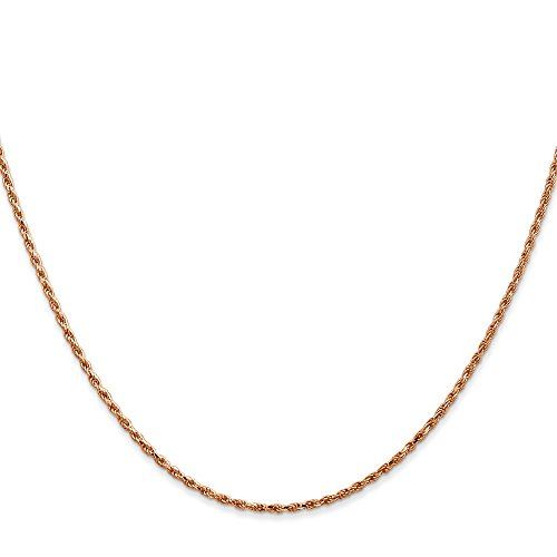Rope 25mm Chain (Solid 14K Rose Gold 1.50-mm Diamond Cut Polished Finish Rope Chain with Lobster Clasp)