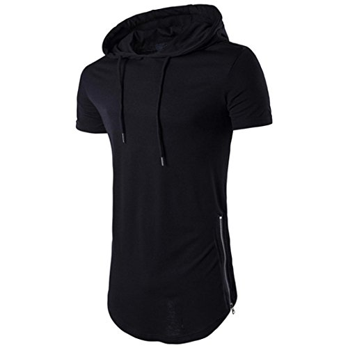 Price comparison product image WUAI Clearance Men's Short Sleeve Hoodie Casual Fashion Outdoor T-Shirt Blouse (Black,  US Size M = Tag L)