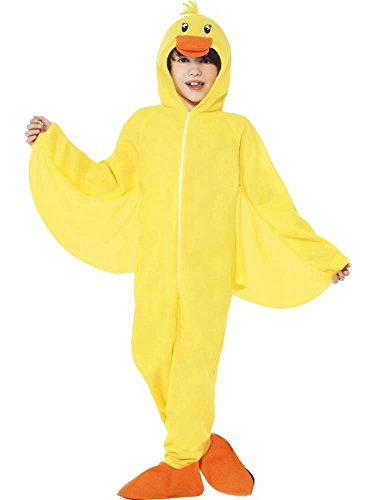 Smiffy's Children's Unisex All in One Duck Costume, Jumpsuit with Hood, Party Animals, Ages 7-9, Size: Medium, Color: Yellow, 27995