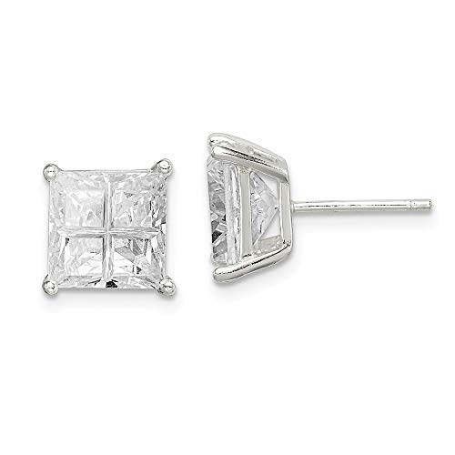 925 Sterling Silver 8mm Square Cubic Zirconia Cz Basket Set Stud Earrings Fine Jewelry Gifts For Women For Her]()