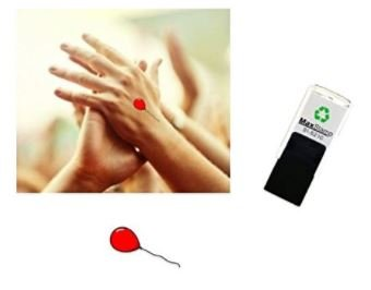 Red Balloon - Hand stamp - suitable for Festivals - Night Clubs - Parties etc self inking 18mm circ 5210