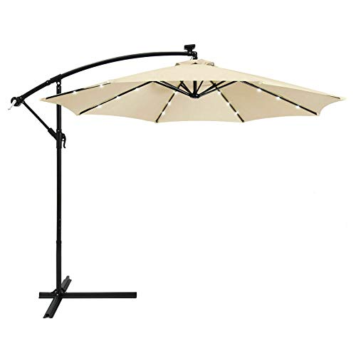 AK Energy 10ft 8 Rib Beige Outdoor 24 Solar LED Light Patio Offset Umbrella Stand Crank Lift Shade 79
