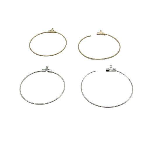 24 Pcs 40 mm Shaped Beading Hoop Earring Finding Ring Hoop for Earring Jewelry Making (Gold Silver)
