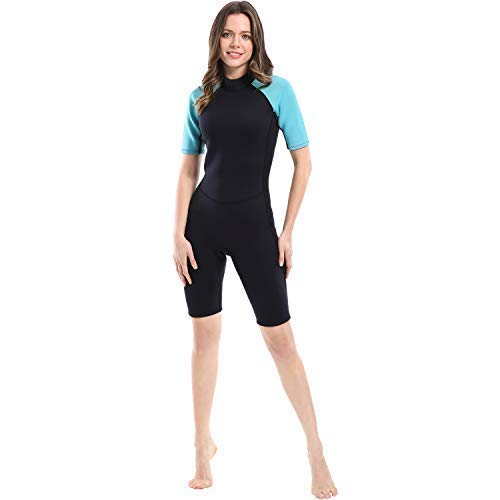 Dark Lightning 2mm Wetsuit Women, Women's Shorty Wet Suit with Premium Neoprene, and Kids 2mm One Piece Wet Suits for Fishing, Diving,Surfing, Snorkeling, M Size