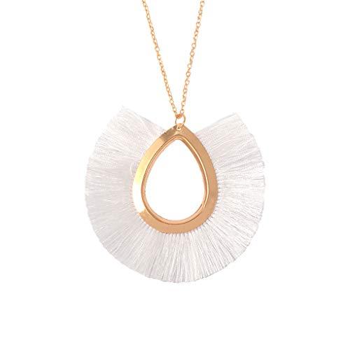 Long Fringe Tassel Necklace For Women Pendant Summer Big Bohemian Collar Femme white