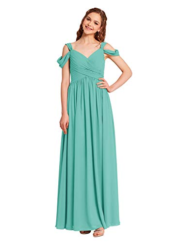 Alicepub Pleated Chiffon Maxi Bridesmaid Dress Long Formal Event Dress for Party, Tiffany, US10