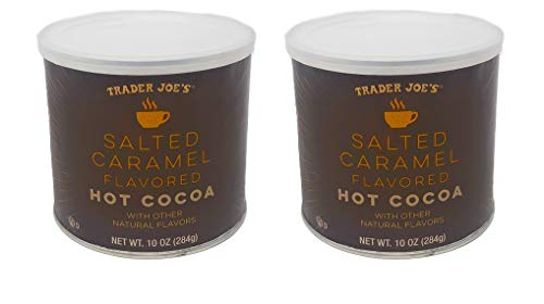 Trader Joes Salted Caramel Flavored Hot Cocoa Powder - Pack of 2 Jars - 10 oz Per Jar - Seasonal Item