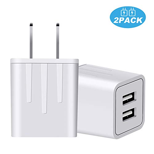 KOZOPO Wall Charger Universal Dual USB Port Travel Mobile Phone Fast AC Adapter Portable Block Power Plug Charging(UL Listed) Compatible with Phone XS MAX/XR/X/8/7/Plus/6S/6/SE/5S/5C/Tablet(2-Pack)