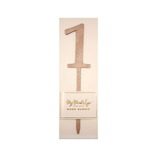 My Mind's Eye Botanical Wood Number Cake Topper Party Pick, Quantity 1 (Number 1)