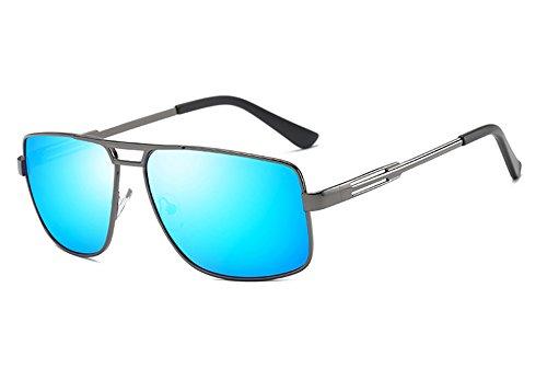Guía Gafas macho Gafas Sunglasses gafas sol de gris sol de negro polarizadas bastidor cuadrado para hombres gris blue gray TL hombres qYzw75w