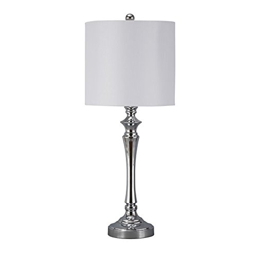 Signature Design by Ashley L204004 Contemporary Taji Metal Table Lamp Set with Drum Shades (Set of 2), Chrome Finish, 2 Piece - Reflects Chrome Table Lamp