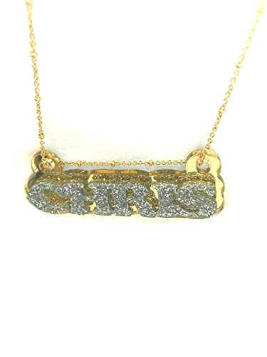 Mirror Mania Name Plate Custom Name Necklace Nameplate Name Laser Cut Personalized, Diamond Look Letters with Gold Back and Gold Chain, Made to Order Any Name - Dazzling and Stunning!