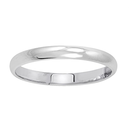 Women's 14K White Gold 2mm Classic Fit Plain Wedding Band (Available Ring Sizes 4-8 1/2) Size 6.5 by Amanda Rose Collection (Image #1)