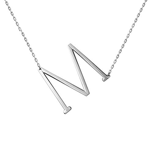 WIGERLON Stainless Steel Initial Letters Necklace for Women and Girls Color Gold and Silver from A-Z Letter M Color Sliver ()