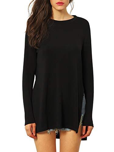 SheIn Women's Round Neck High Low Hem Split Side Casual T-Shirt Black Medium