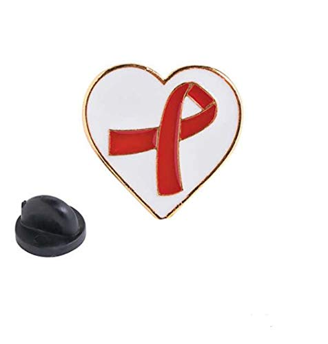 Red Awareness Ribbon on Heart Pin, Support Heart Disease, AIDS, HIV, Stroke, Show Your Support -