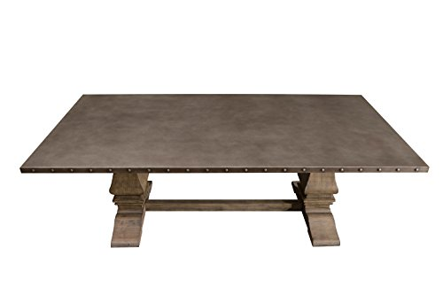 Rectangular Trestle Dining Table (Homelegance Anna Claire 84 inch Rectangular Table with Pedestal Base and Nail Head Accent Banding, Rusticated Zinc Top)