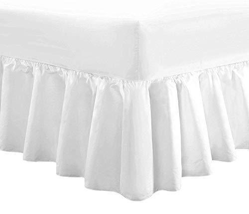 Divine Textiles - Sabana bajera ajustable con faldon de volantes, algodon algodon poliester, Blanco, Dou
