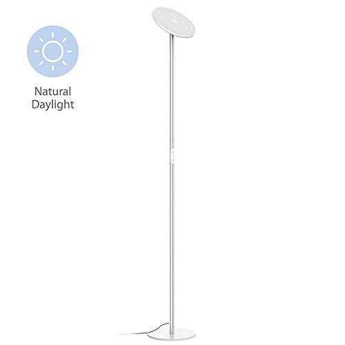 TROND LED Torchiere Floor Lamp, Modern Pole Light Dimmable 30W, 5500K Natural Daylight (Not Warm Yellow), Max. 5000lm, 71-Inch, 30-Minute Timer (Silver)
