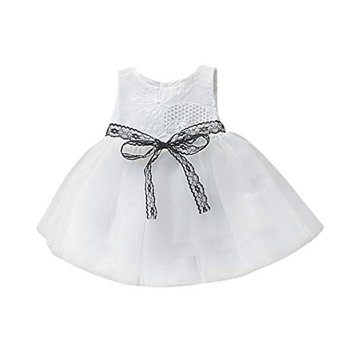 Baby Tutu Dress,Baby Girl lace Bow Openwork Sleeveless Button Mesh Princess Skirt Tutu White