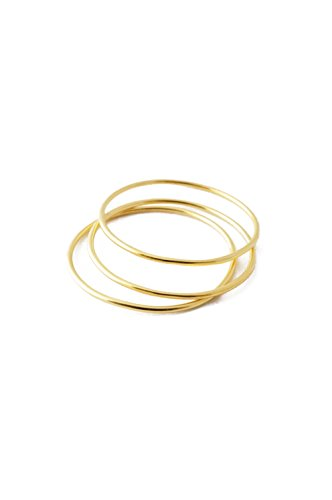 HONEYCAT Super Skinny Smooth Stacking Rings Trio Set in Gold, Rose Gold, or Silver | Minimalist, Delicate Jewelry - Gold Trio