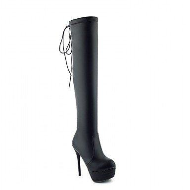 RTRY Zapatos de mujer polipiel Primavera Moda Invierno botas botas Stiletto talón puntera redonda sobre la rodilla botas cremallera para oficina informal &Amp; Carrera US6 / EU36 / UK4 / CN36