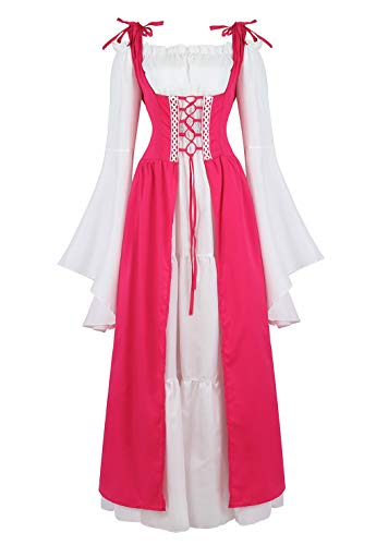 Womens Renaissance Cosplay Costume Medieval Irish Over Dress and Chemise Boho Set Gothic High Waist Gown Dress Rose-2XL