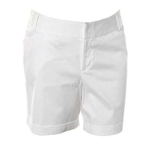 INC Womens Plus Cuffed Solid Bermuda Shorts White 16W