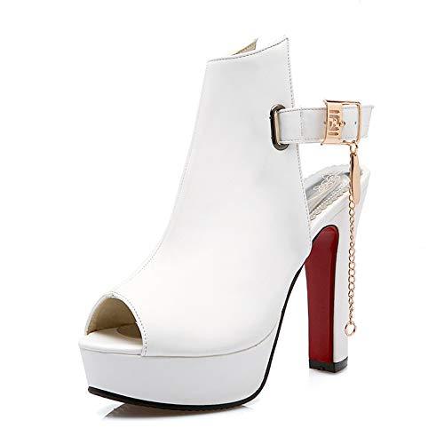 Meotina Women Gladiator Shoes Peep Toe Slingback High Heels Gladiator Pumps (6, White)