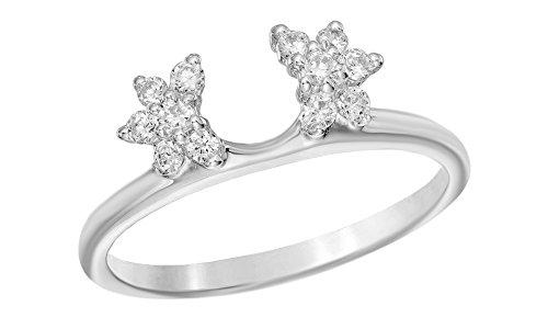 Natural Diamond Starburst Solitaire Enhancer Guard Ring in 14k Solid Gold (1/4 Ct) (Diamond Solitaire Enhancers)