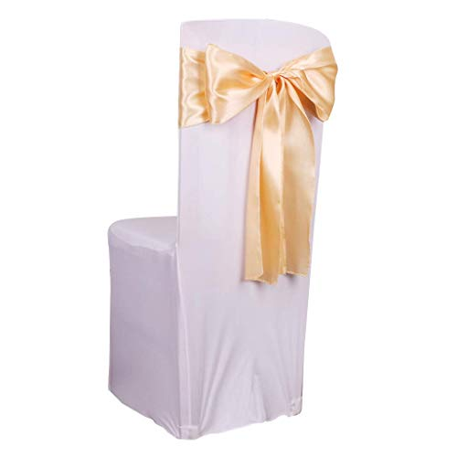 (Fvstar 25pcs Champagne Wedding Chair Bows Satin Chair Sashes Chair Cover Ribbons Chairs Back Tie Bands for Baby Shower Birthday Banquet Event Party)