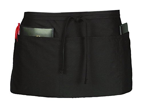 (Ritz CL3PWACBK 4 Pocket Waist Serving Apron, Black, 1 Pack, One Size)