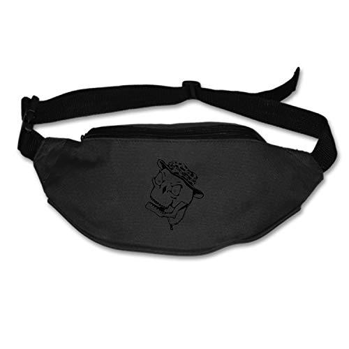 SEVTNY Fashion Skull Hat Skeleton Cartoon Halloween Horror Fanny Bag Black Female/Male Adjusted Belt Bag Ladies Casual Waist Pack -