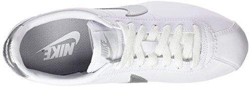 Cortez Nike Leather Blanc Grey Classic Baskets Silver wolf white Femme metallic CcyF1cU7H