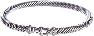David Yurman Women's Cable Buckle Bracelet with Diamonds Medium Silver