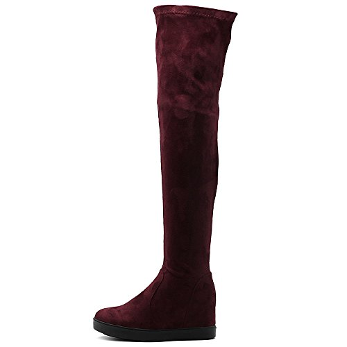 Ollio Women's Shoes Stretch Faux Suede Thigh High Platform Flat Long Boots TWB01019 (8.5 B(M) US, Wine)