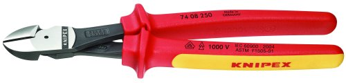 Knipex 7408250SBA 10-Inch High Leverage Diagonal Cutters - 1000 Volt