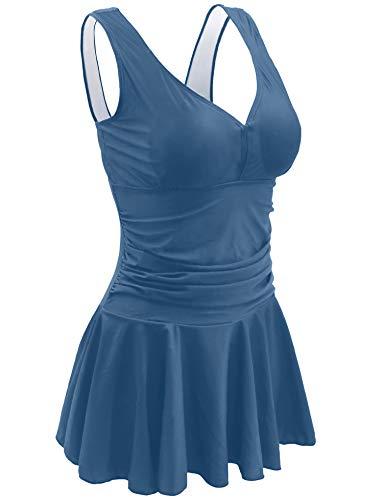 AONTUS Women's Plus Size Swimsuits Tummy Control One Piece Swim Dresses Bathing Suit (Soot Blue, X-Large(US Size:16-18))