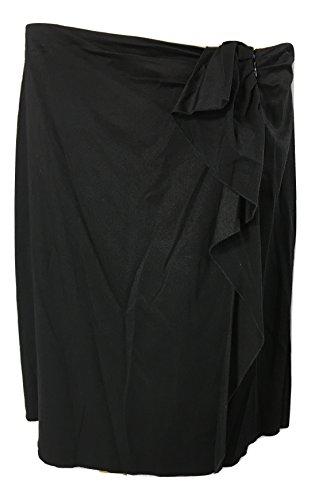 Elie Tahari Women's Stretch Mariene Ruffle-Front A-Line Skirt, Black, 12