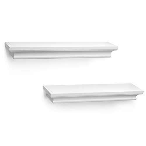 - Kloveyleaf Floating Shelves Set of 2 Modern Style Shelves for Bedroom, Kitchen, or Bath, Includes Wall Mounting Hardware (White)