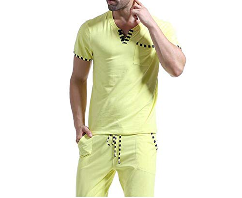 Home Sleep Dark Sleepwear Sleeve Cotone Uomo Top Set Short Grey Pigiama Auspiciousi Patchwork PwxzqU1U0