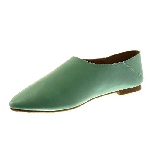 Angkorly Damen Schuhe Mokassin - Slip-On - Flexible Flache Ferse 1 cm Grüne