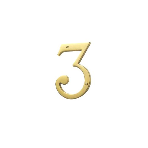 Decorative Brass House Number (Baldwin 90673.003.CD Solid Brass House Number 3, Polished Brass - Lacquered)