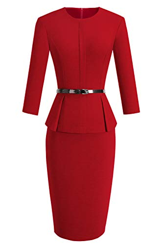 VELJIE Women's Peplum Wear to Work Business Party Bodycon One-Piece Belted Office Dress(Red,8)
