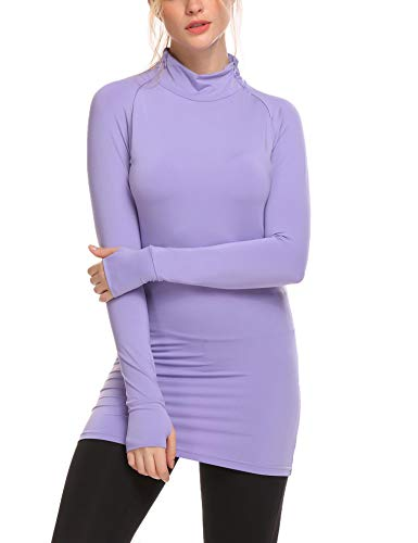 - Women's Athletic Compression Gym Yoga Pullover with Thumb Holes Zip Running Sweatshirt