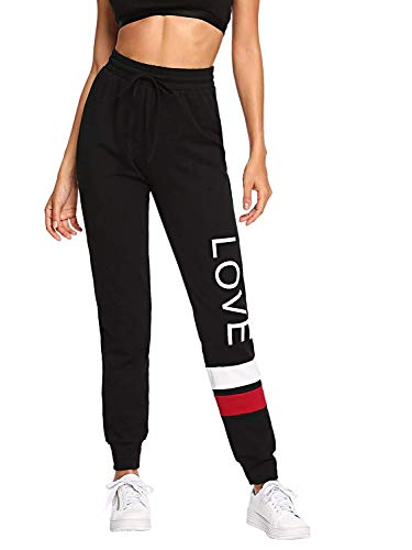 Women Pants Color Block Casual Tie Waist Yoga Jogger Pants (Letter Print-Black/X-Small) ()