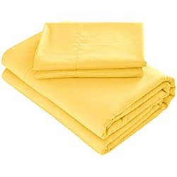 Prime Bedding Bed Sheets - 3 Piece Twin Sheets, Deep Pocket Fitted Sheet, Flat Sheet, Pillow Case - Bright Yellow