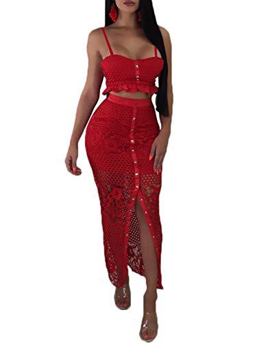 D Jill Women's 2 Piece Lace Outfit Dress Button Down Cami Crop Top Long Skirt Set Red