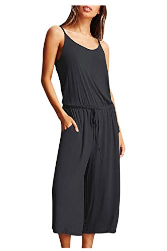 (Lady Jumpsuit Sexy Off the Shoulder Bare Back V Pleated Loose Flares Capri Pant,01-dark Grey,Medium)